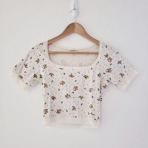 90's Morgan Cropped Floral Top Fitted Scoop Neck